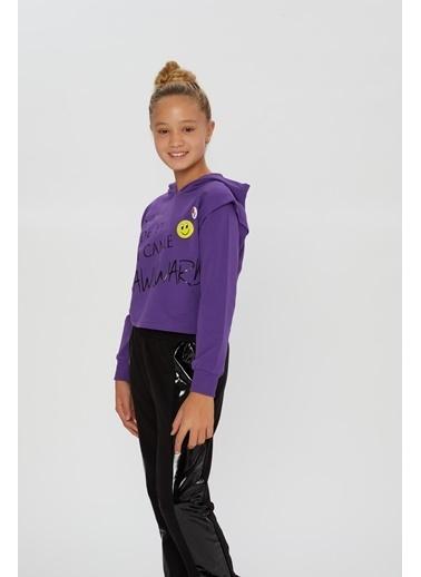 Little Star Little Star Kız Çocuk Smile Broşlu Sweatshirt Mor